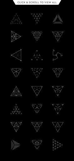 Geometry: 24 Triangles by kloroform on Creative Market   tatuajes   Spanish…