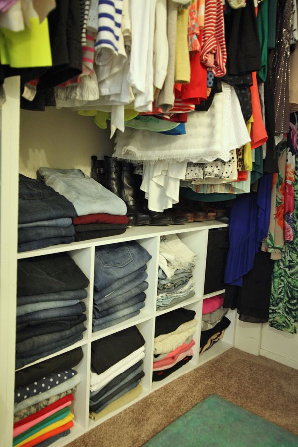 How to Organize & Style Your Closet | Use cube shelves to organize and have easy access to jeans, shorts, and sweaters.