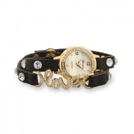 "Leather Fashion Wrap Watch with Gold Tone Crystal ""love"" Message"