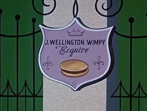 Plaque outside the mansion of newly rich J. Wellington Wimpy, Esq. | Popeye the Sailor: Rags to Riches to Rags (1960) | Keywords: Seymour Kneitel (director)