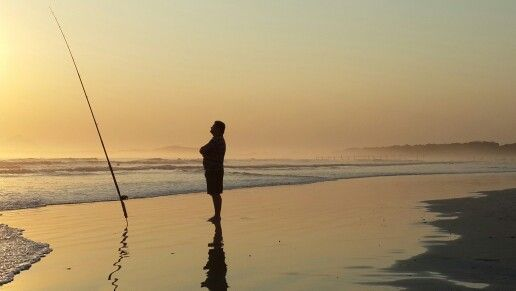 Time to ponder...or was it to fish? Strand beach - just before sunset during middle August.  #strand #beach #fishing