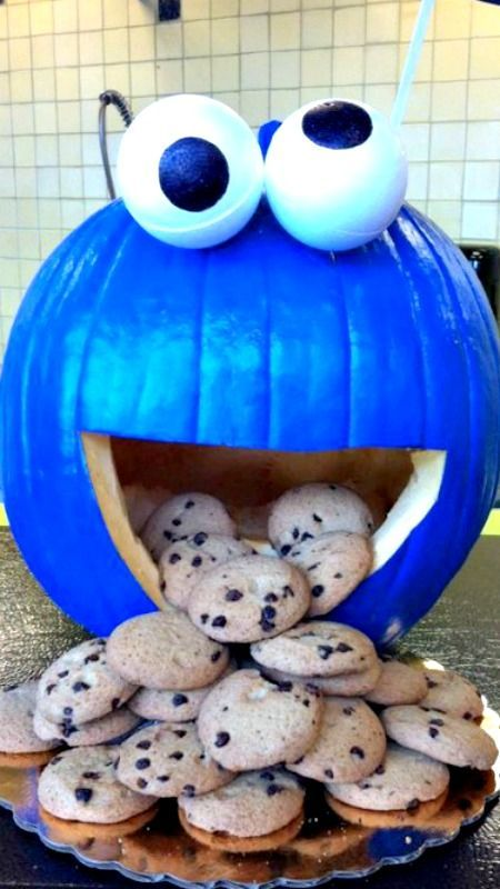 cookie monster pumpkin fun inspiration this is deff me hhaha cute kids halloween ideas - Decorated Halloween Pumpkins