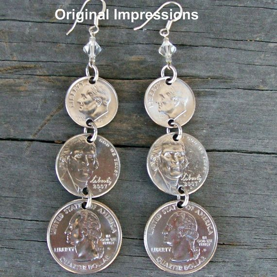Spare change coin jewelry earrings made of  by OriginalImpressions, $16.00