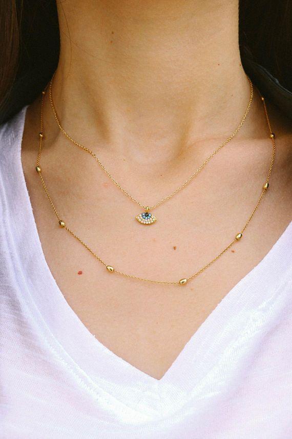 Tiny Evi Eye Necklace, Gold Cubic Zirconia Evil Eye Necklace, Women's Jewelry, Made in Greece by Christina Christi Jewels.