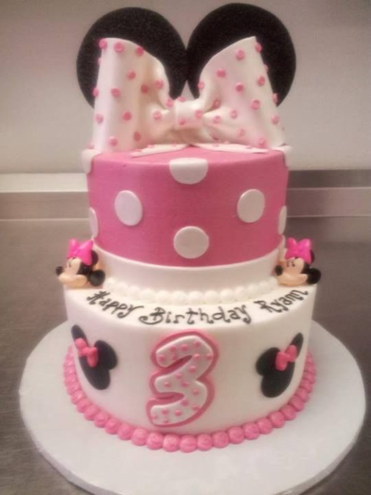 Minnie Mouse 2 tier birthday cake.  Our Birthday Cakes  Pinterest ...