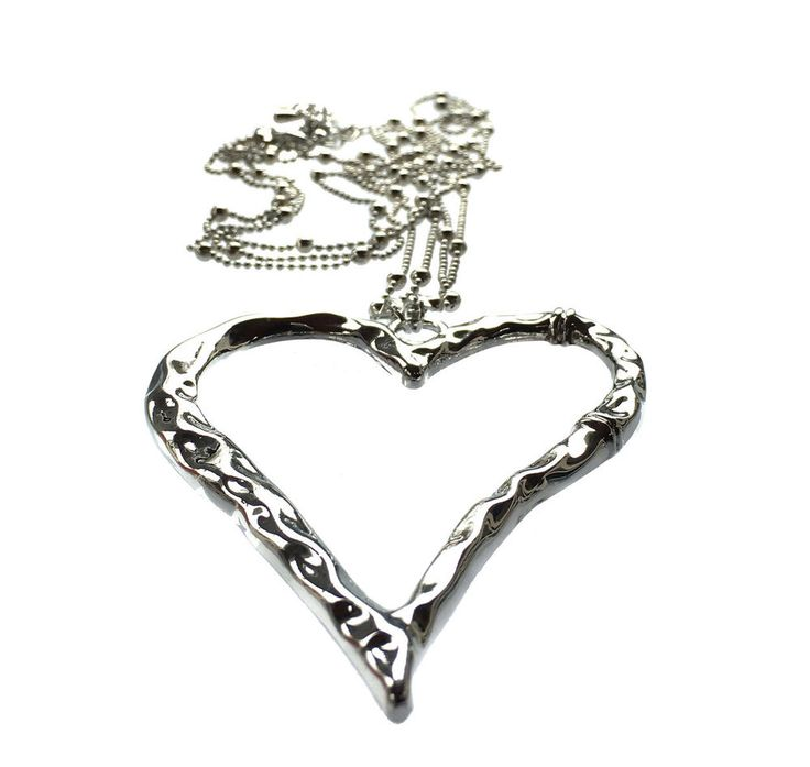 Large Silver Heart Pendant and Long Multi Strand Bead Necklace Costume Jewellery #AMEA #NecklacePendant