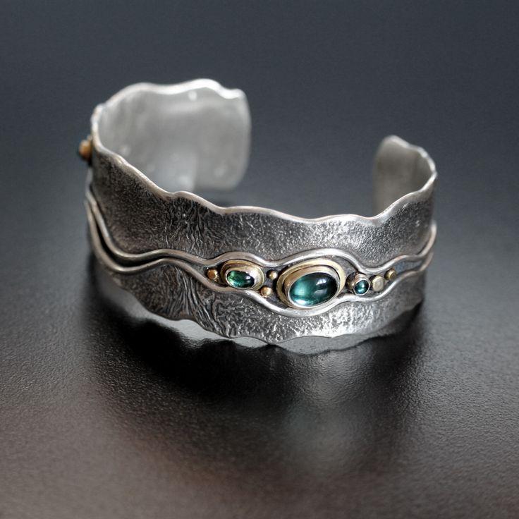 "Cuff bracelet   Abi Cochran. ""Big River"" Silver, 18ct Gold + 5 Aqua/Teal Tourmalines"