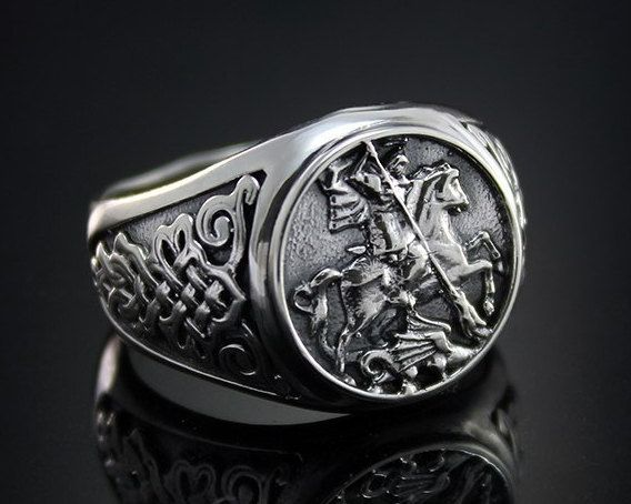 Saint George and the Dragon Mens Signet Ring by WorldOfGold