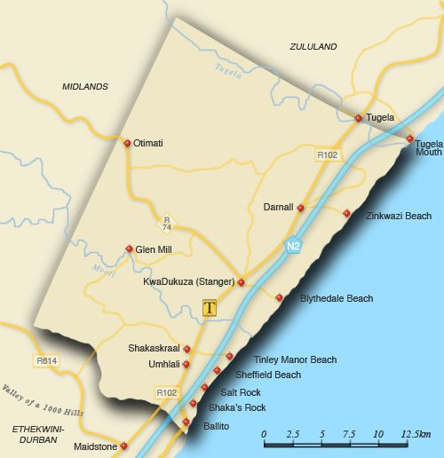 Clickable map of accommodation in North Coast
