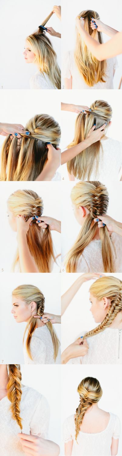 82 best   Head To Head   images on Pinterest   Long hair  Braids and     French fishtail braid tutorial for medium and long hair tutorial  Watch her  style her own hair in mins