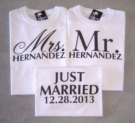 Mr and mrs newlywed t shirts! Celebrate your wedding day with these personalized just married t shirts customized with your date! bQwJ5