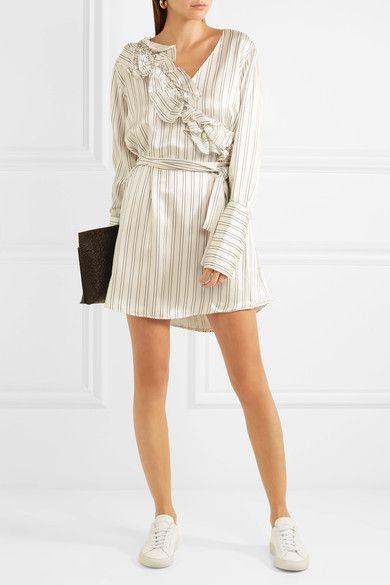 Maggie Marilyn | Somewhere convertible ruffled pinstriped silk-satin mini dress | NET-A-PORTER.COM