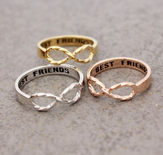Best Friend Infinity ring with twisted band in Gold / White Gold / Rose Gold Color on Wanelo