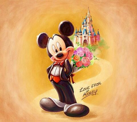 Mickey with a bouqet of flowers for Minnie.