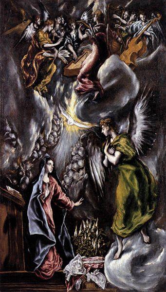 El Greco (Domenico Theotokopoulos, 1541-1614) : l'Annonciation. 1596-1600. Huile sur toile, 113,5 x 66 cm. Bilbao, Musée des beaux Arts