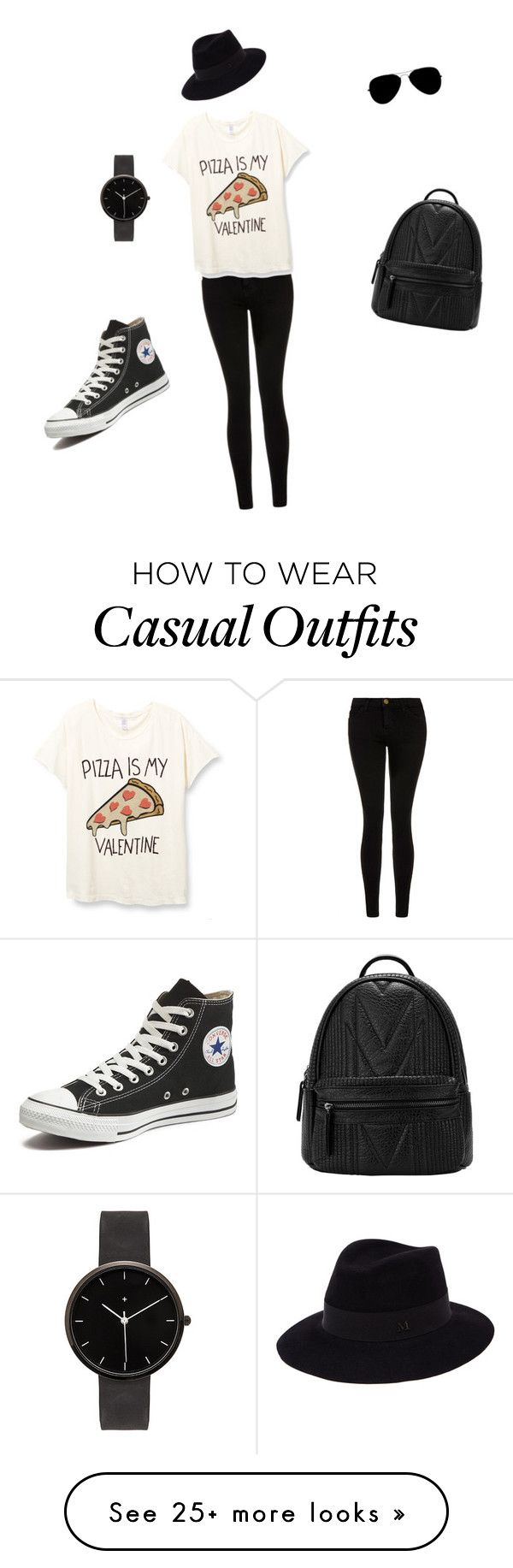 """""""Casual"""" by erisedmagic on Polyvore featuring Current/Elliott, Converse, Maison Michel, I Love Ugly, women's clothing, women's fashion, women, female, woman and misses"""