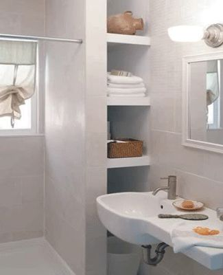 27 best images about bathroom ideas on pinterest shelves for Small bathroom design solutions