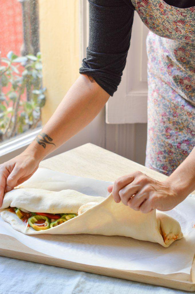 Preparación paso a paso- Pizza Stromboli