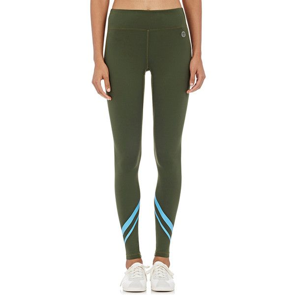 Tory Sport Women's Chevron-Striped Leggings ($125) ❤ liked on Polyvore featuring activewear, activewear pants, green and logo sportswear