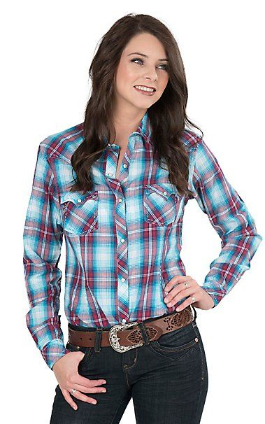 Panhandle Women's Blue and Red Plaid Long Sleeve Western Snap Shirt | Cavender's