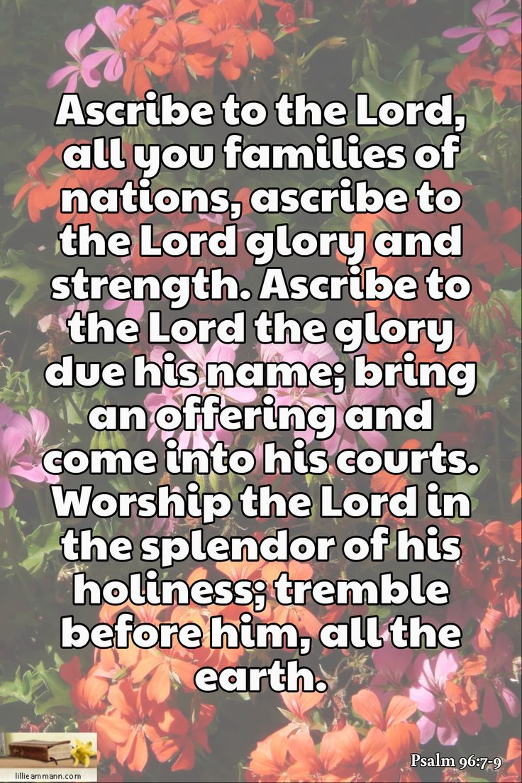 Ascribe to the Lord, all you families of nations, ascribe to the Lord glory and strength. Ascribe to the Lord the glory due his name; bring an offering and come into his courts. Worship the Lord in the splendor of his holiness; tremble before him, all the earth. / Psalm 96:7-9