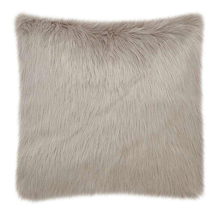 Fluffy Faux Fur Grey Cushion Cover   Dunelm