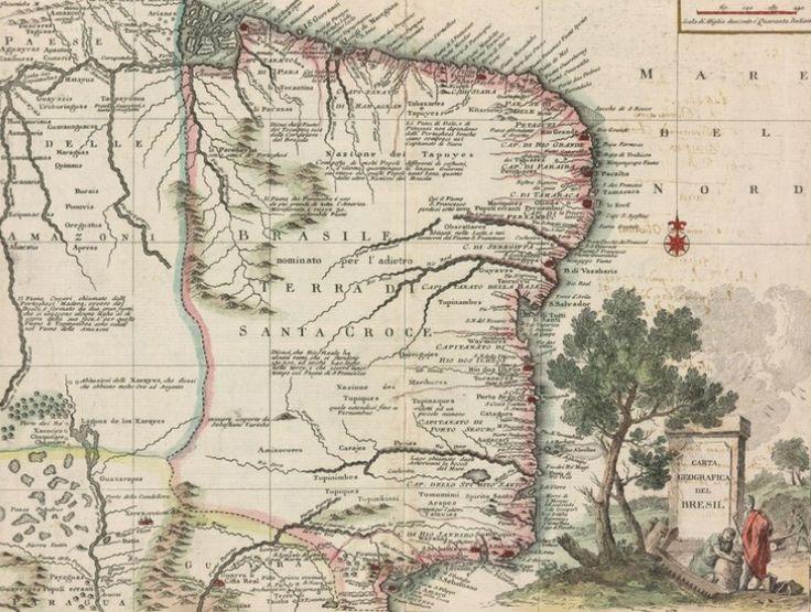 Imagem 1 de 1 da galeria de Mapas antigos do Brasil entre os séculos XVI e XIX. Fonte: Mapas do Brasil - Coleção Digital de 32 Mapas do Séc XVI ao XIX
