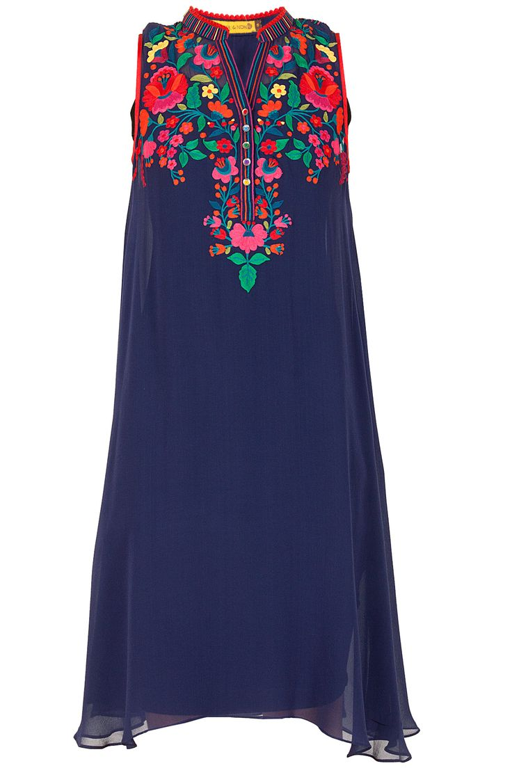Navy floral embroidered tunic available only at Pernia's Pop-Up Shop.