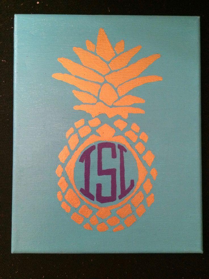 Pineapple monogram canvas. Sorority craft