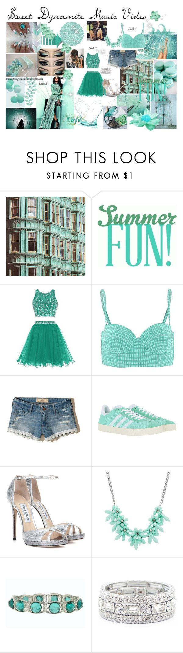 """OC Alyssa Caballero ~ Music Video"" by fan-girlfanatix ❤ liked on Polyvore featuring Calipige, Hollister Co., adidas Originals, China Glaze, Jimmy Choo, sweet deluxe, 1928, Sole Society and Atlantis"