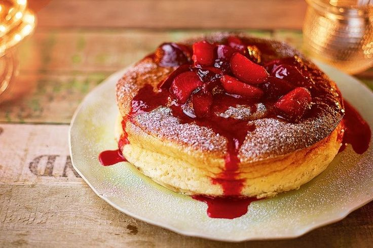 """The light texture of this Japanese-inspired cheesecake pairs perfectly with sticky, sweet plums,"" says Jamie."