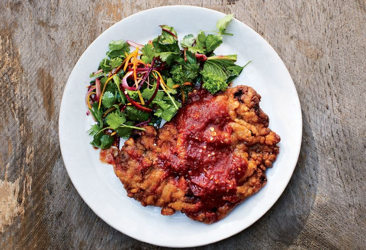 This recipe for a hot-weather version of chicken-fried steak is paired with a fresh, no-cook salsa. Looks like gravy, tastes like summer.