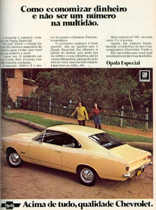 PROPAGANDAS NACIONAIS Opala 1972