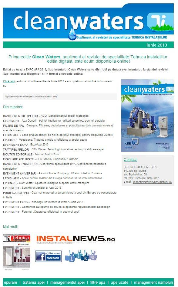 Clean Waters, Supliment al revistei Tehnica Instalatiilor, editia iunie 2013