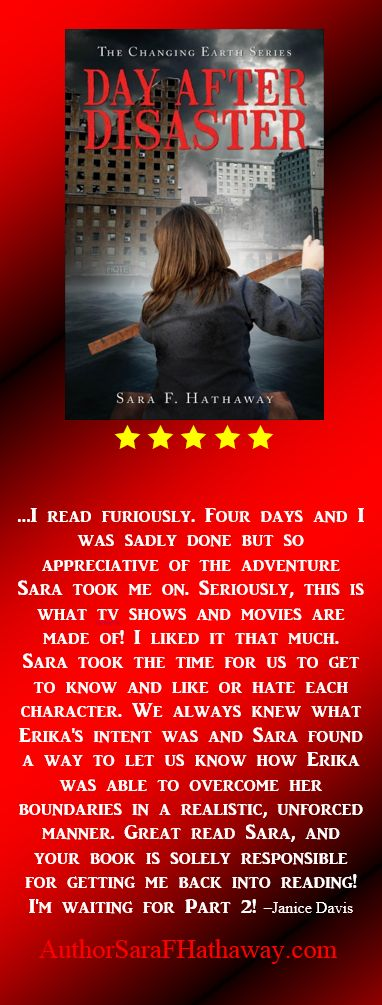 5 Star review of Day After Disaster an apocalyptic, adventure in which a dynamic woman, mother and wife struggles, against all odds, to find her family, dead or alive, in a world being tormented by Mother Nature.