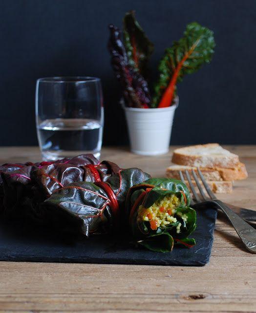 Cous cous vegetables swiss chard roll - Rollitos de acelga, verduras y cous cous