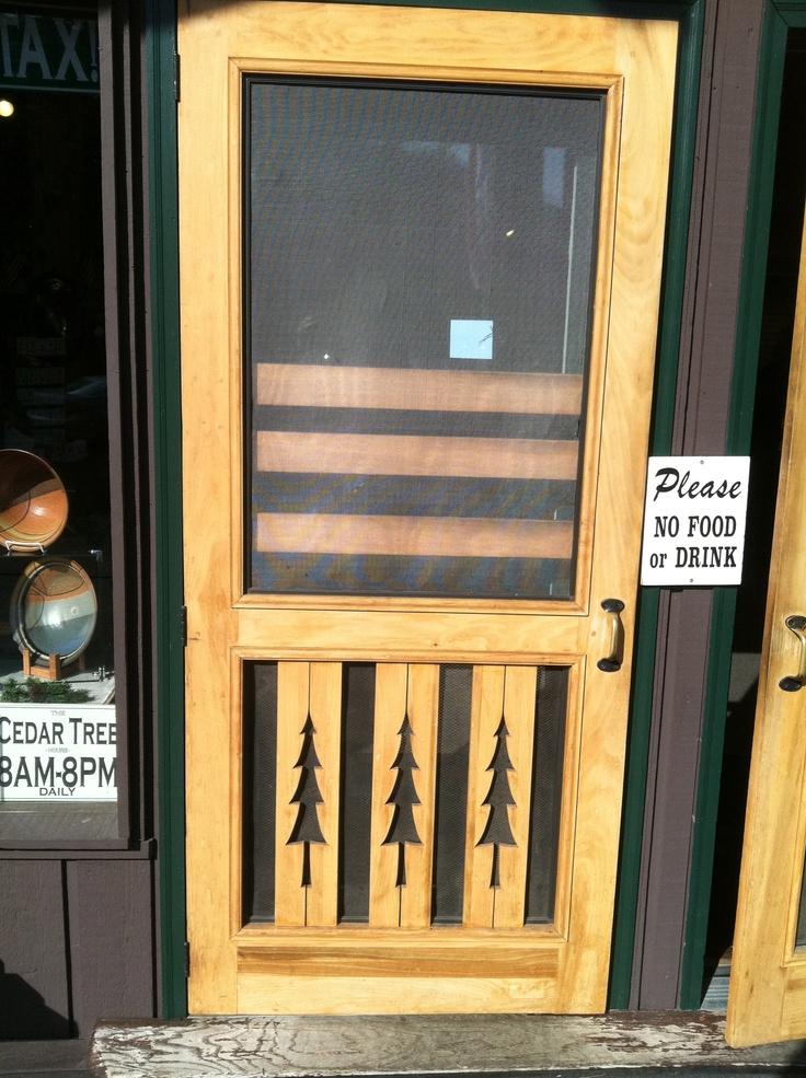 Screen door for the cabin pinterest screen doors for Yellow pine wood doors