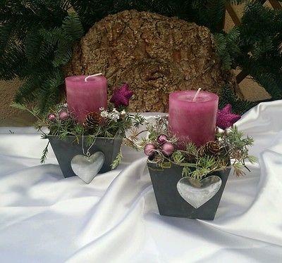 Adventsgesteck Gesteck Tischgesteck Advent Weihnachten Tischdeko Topf Kerze Herz