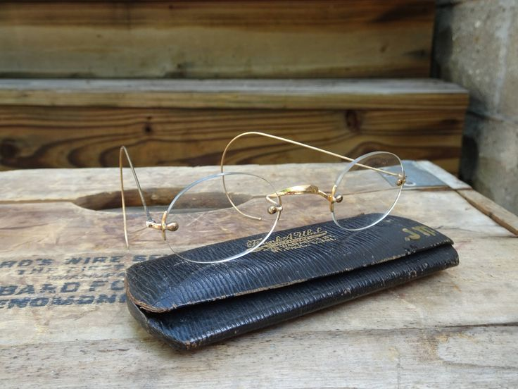 Antique Yellow Fellow Rimless Wire Frame Eyeglasses | granny glasses | Photo Prop | Stage Props | Librarian Glasses | Antique Glasses by Rue88Market on Etsy