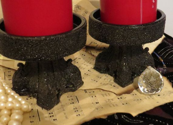 Black candle holders Gothic candle holders ritual by ChippedPaints