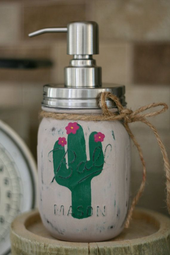Cactus Mason Jar Soap Dispenser Southwest by LovelyLilysPlace
