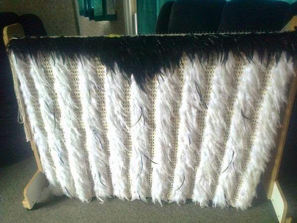 Robin Weaves Korowai blog mawhitiwhiti and white peacock feather panels