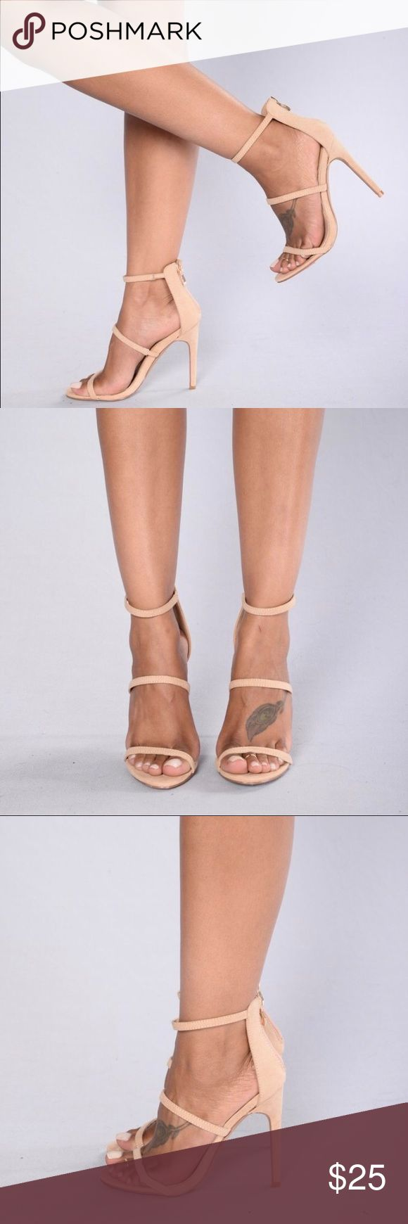 Nude Zip Up Heeled Sandals Cute nude zip up heels, never worn, 4.25 in. heel Fashion Nova Shoes Heels