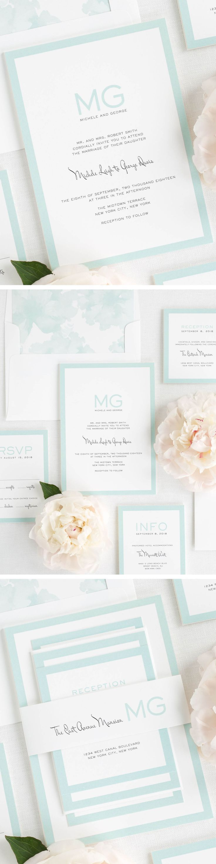 These modern wedding invitations feature a contemporary monogram and a unique left slanting script font. Shown in mint and black.