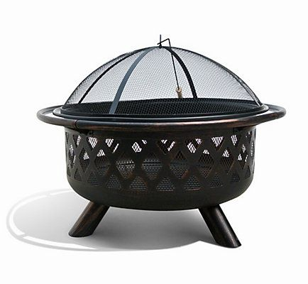 Extend these perfect evenings with the Firenza 32 inch fire pit by Sirio™ Diamond shape cut-outs along the sides of the fire pit let the flickering flames shine through, while an easy-lift protective screen protects you and your guests by keeping sparks and embers inside. This wood-burning fire pit is made of weather-resistant steel with an attractive oil-rubbed bronze and black finish.