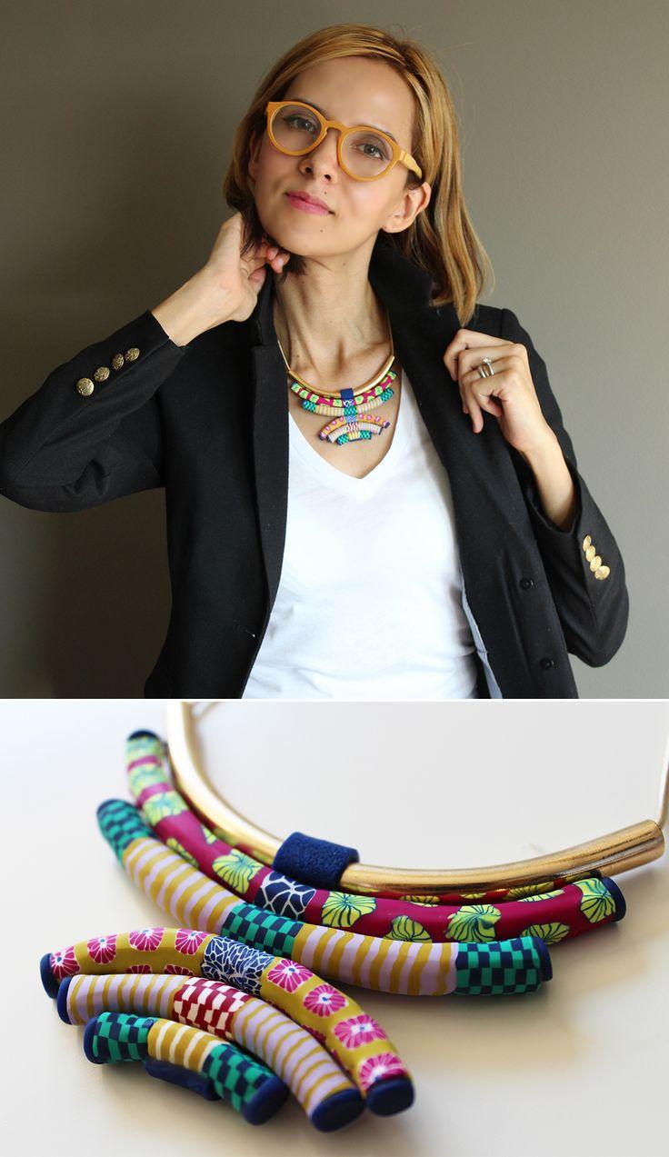 Polymer clay necklace by Veru Designs.