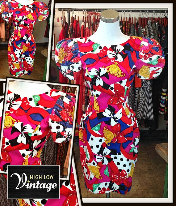 Vintage Multi Color Floral Sequin Dress FREE SHIPPING