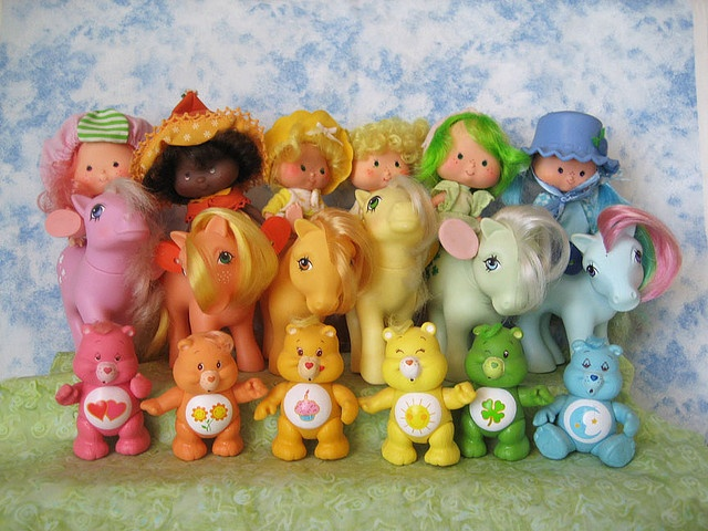 80s toys in rainbow order