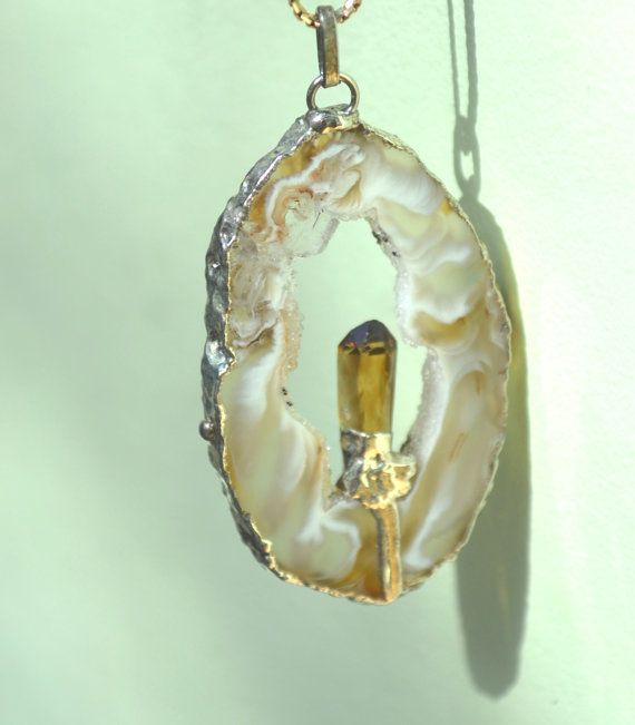 Vintage Pendant Necklace Geode Slice Honey Marble by talkOfThetown, $32.00