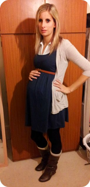 This girl looks miserable BUT cute outfit for maternity, or even just when NOT pregnant.